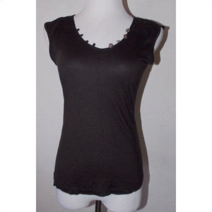 The Limited Small Tank Top Brown Button Neckline